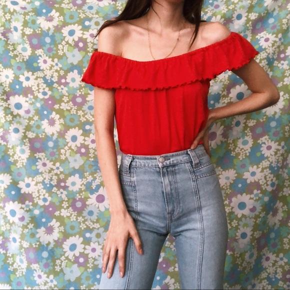 e1d96c0eaa Vintage cherry red 70s off the shoulder top. M_5b254a23c9bf505e676c85fd